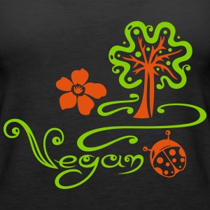 Healthy and vegan cooking, tree, ladybug - Women's Premium Tank Top