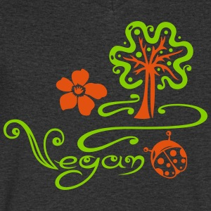Healthy and vegan cooking, tree, ladybug  - Men's V-Neck T-Shirt