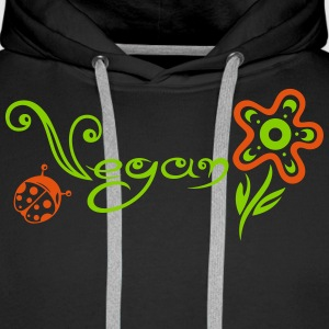 Healthy and vegan cooking, flower with ladybug. - Men's Premium Hoodie