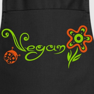 Healthy and vegan cooking, flower with ladybug. - Cooking Apron