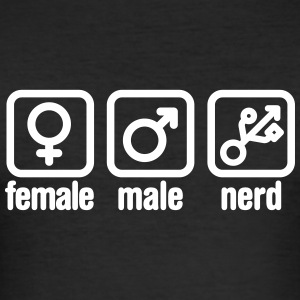 Female - Male - Nerd T-shirts - Slim Fit T-shirt herr