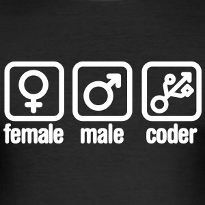 Female - Male - Coder T-shirts - Slim Fit T-shirt herr