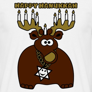 White hanukkah moose-deer Men's T-Shirts - Men's T-Shirt