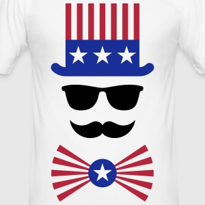 American Moustache (Hipster / Moustached / Beard) T-Shirts - Men's Slim Fit T-Shirt