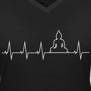Buddha - Buddhism - meditation - heartbeat T-Shirts - Women's V-Neck T-Shirt