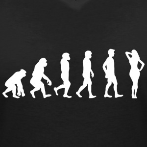 Evolution Hot Lady T-Shirts - Frauen T-Shirt mit V-Ausschnitt