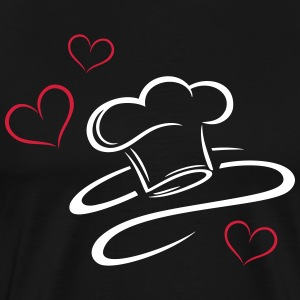 Cook, logo, chef hat with three hearts. - Men's Premium T-Shirt