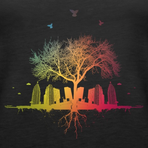blurred city / forest tree city colors birds