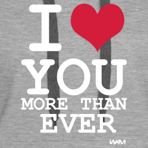 Grau meliert i love you more than ever by wam Pullover - Frauen Premium Hoodie