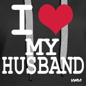 Schwarz i love my husband by wam Pullover - Frauen Premium Hoodie