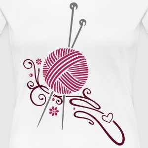 Knitting needles with wool and flowers. T-Shirts - Women's Premium T-Shirt