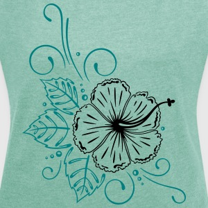 Large hibiscus flower with leaves. T-Shirts - Women's T-shirt with rolled up sleeves