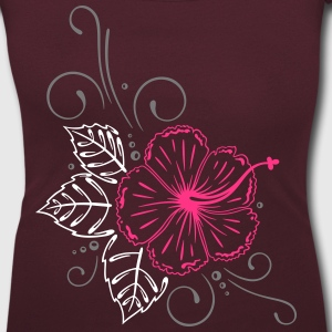 Large hibiscus flower with leaves. T-Shirts - Women's Scoop Neck T-Shirt