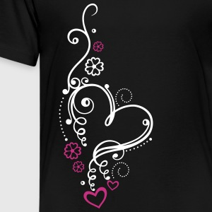 Large heart with small hearts and flowers Shirts - Teenage Premium T-Shirt