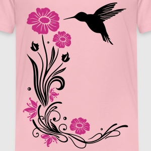 Floral motif with flowers and hummingbird. Shirts - Kids' Premium T-Shirt