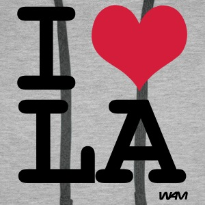 Heather grey I LOVE LA - los angeles by wam Jumpers - Men's Premium Hoodie
