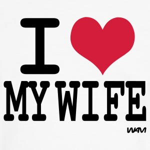 Wit/zwart i love my wife by wam T-shirts - Mannen contrastshirt