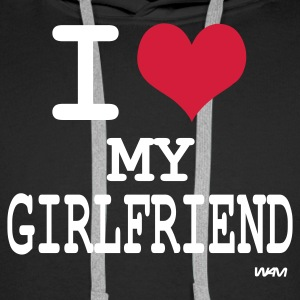 Zwart i love my girlfriend by wam Sweaters - Mannen Premium hoodie
