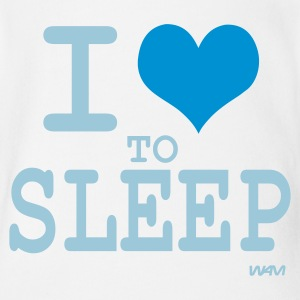 Bianco i love to sleep by wam Body neonato - Body ecologico per neonato a manica corta