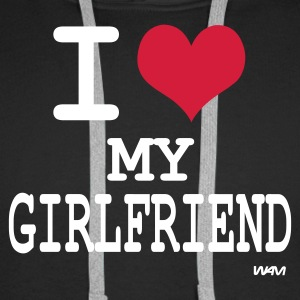 Nero i love my girlfriend by wam Pullover - Felpa con cappuccio premium da uomo