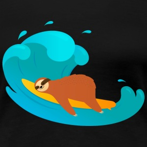 Lazy Sloth Surfing On Big Wave T-Shirts - Women's Premium T-Shirt