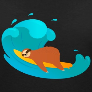 Lazy Sloth Surfing On Big Wave T-Shirts - Frauen T-Shirt mit V-Ausschnitt