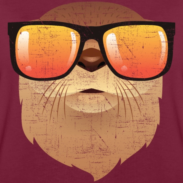 Otter With Sunglasses Illustration T-Shirts - Frauen Oversize T-Shirt