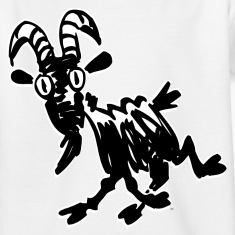 White Trotting Cartoon Black Goat by Cheerful Madness!! Kids' Shirts