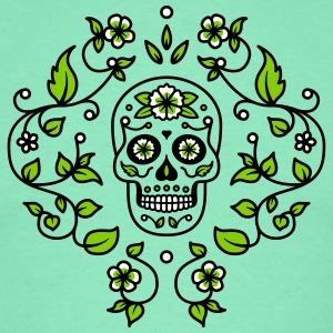 Sugar Skull Foliage Lime Green - Men's T-Shirt