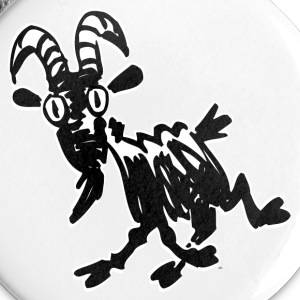 White Trotting Cartoon Black Goat by Cheerful Madness!! Buttons - Buttons small 25 mm
