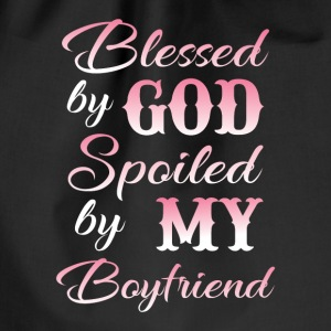 Blessed by god spoiled by my boyfriend Bags & Backpacks - Drawstring Bag
