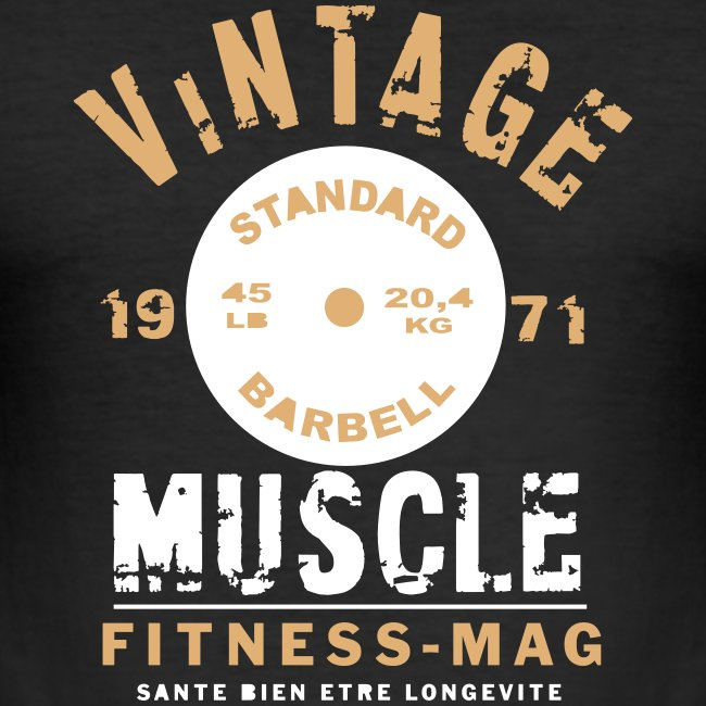 Tee shirt moulant Vintage Muscle Fitness Mag 100% coton
