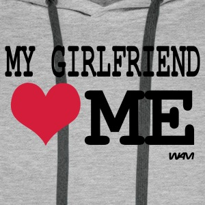 Heather grey my girlfriend loves me by wam Jumpers - Men's Premium Hoodie