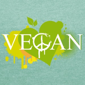 Vegan heart graffiti T-Shirts - Women's T-shirt with rolled up sleeves