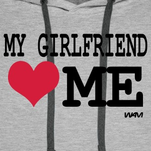 Grau meliert my girlfriend loves me by wam Pullover - Männer Premium Hoodie