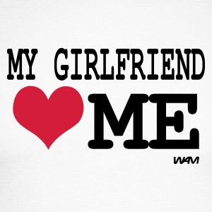 Wit/zwart my girlfriend loves me by wam Shirts met lange mouwen - Mannen baseballshirt lange mouw