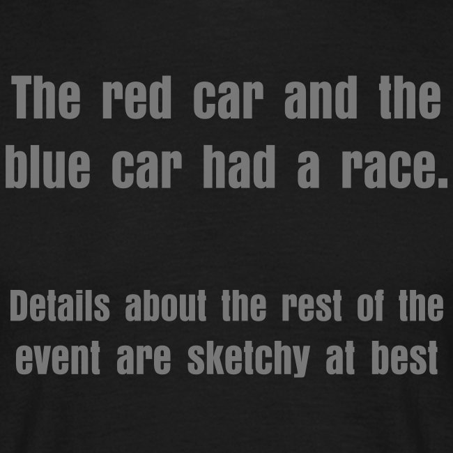 The red car and the blue car had a race