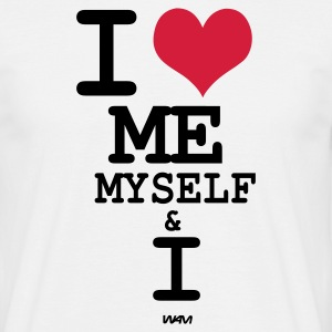 Wit i love me myself and i by wam T-shirts - Mannen T-shirt