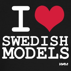 Schwarz/weiß i love swedish models by wam T-Shirts - Männer Kontrast-T-Shirt