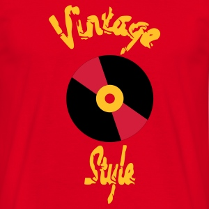 Rouge disque vintage style T-shirts - T-shirt Homme