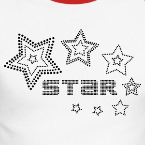 Blanc/rouge fashion_star_3 T-shirts manches longues - T-shirt baseball manches longues Homme