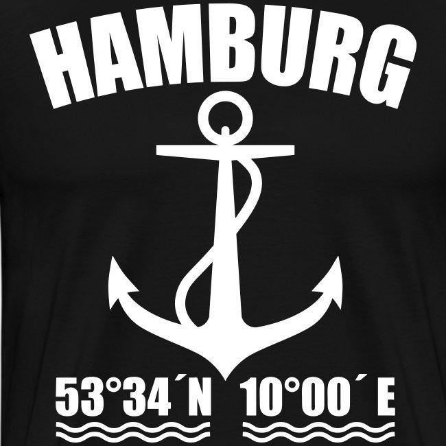 Hamburg Koordinaten Anker maritim Ahoi T-Shirt