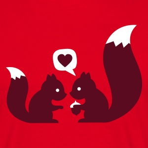 Rouge squirrels in love - to give each other T-shirts - T-shirt Homme