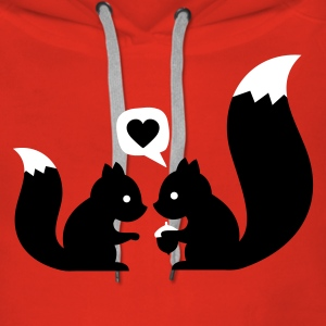 Rojo squirrels in love - to give each other Sudadera - Sudadera con capucha premium para mujer