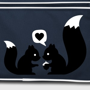 Navy/white squirrels in love - to give each other Bags  - Retro Bag