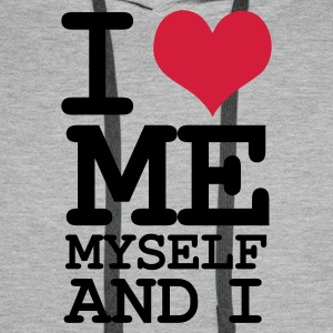 Grau meliert i love me my self and i Pullover - Männer Premium Hoodie