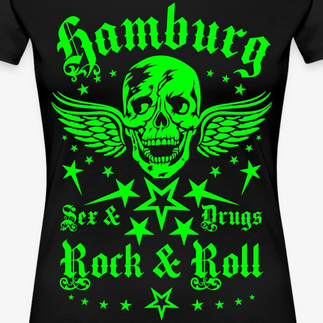Hamburg Sex Drugs Rock & Roll Skull Frauen T-Shirt schwarz