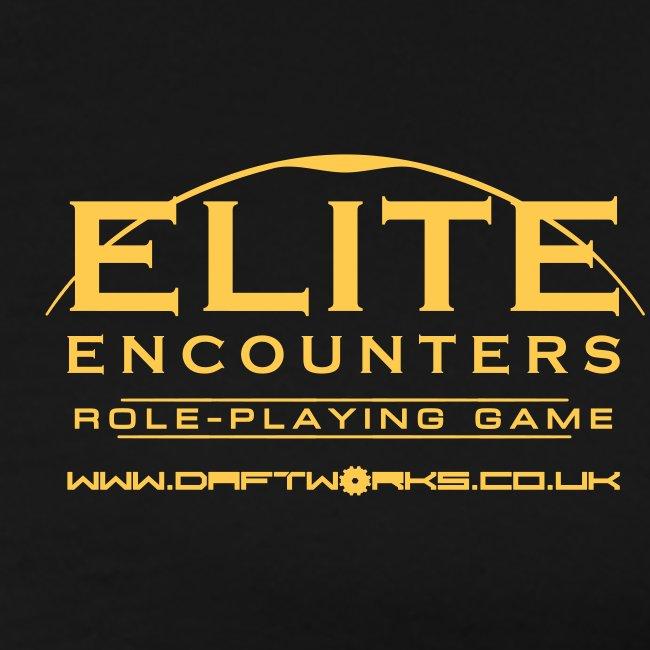 Gold Elite Encounters logo and Daftworks URL Men's T-shirt