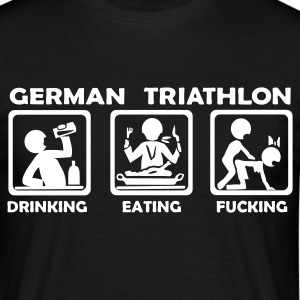 Schwarz german triathlon eating drinking fucking T-Shirts - Männer T-Shirt