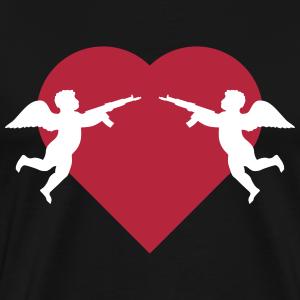 Engel vor Herz mit Gewehr